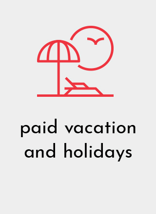 Designetics offers employees paid vacation and holidays